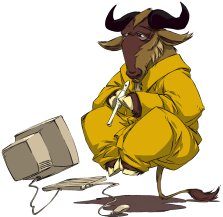 GNU levitando